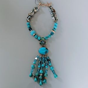 Chico's Turquoise Lily Pendant Necklace NWT
